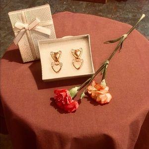 😍 Double HEART Rhinestone Goldtone Earrings Clip